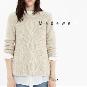 Madewell Alpaca Wool Cable Knit Marled Sweater